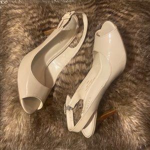 Talbots leather peep toe sling back heels